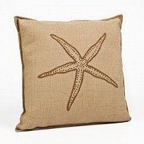 #ECOA BURWA01-SFBR Washed Printed Burlap Brown Starfish