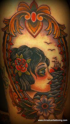 Girl / rose / clipper ship / seas / frame tattoo by Chris Stuart www.chrisstuarttattooing.com www.facebook.com/chrisstuarttattooing Instagram: @chrisxempire Chrisstuarttattooing@gmail.com Ace Tattoos, Charlotte,NC