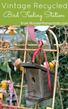 Make a Bird Feeding Station from recycled garden trellises and learn how to make Homemade Suet for the Birds :: HoosierHomemade.com