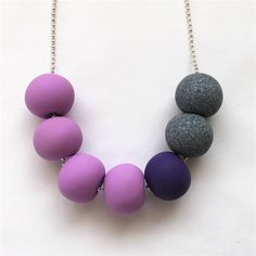 Radiant orchid and grey granite polymer clay bead necklace