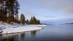 The winter shore along Lake Roosevelt (Columbia River) at the Gifford Ferry dock. Beautiful Scenery, Most Beautiful, Twin Lakes, Evergreen State, Columbia River, Washington State, Roosevelt, Snow, Mountains
