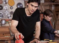 Ian Somerhalder Works With Power Tools in the Built of Barnwood Shop
