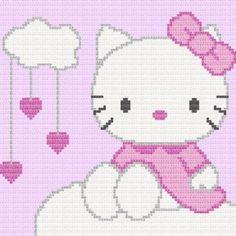 Hello Kitty Afghan Blanket Graph Crochet Pattern | eBay | Cross ...
