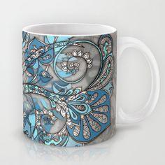 Let Me Lead You - blue grey doodle pattern Mug