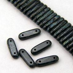 More DIY Glasperle, tjekkisk, ildpoleret picasso sort turkis, 2 huller 5x15mm - 10 stk.