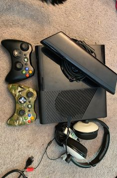 Xbox 360 with 2 controllers, Kinect, power supply and other cords, and a pair of turtle beach headphones. Price is negotiable just send me a message. Everything works I just decided to upgrade to an Xbox one Turtle Beach, Xbox 360, Headphones, Shopping, Headpieces, Ear Phones
