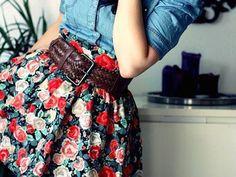 denim shirt, floral skirt, brown belt. LOVE