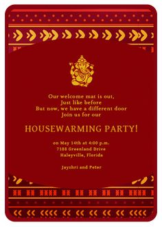The auspicionsness of a Housewarming Invitation that features Lord Ganesha upon it is hopefully not lost on those who seek divine blessings for occupying their new domicile. Ganpati Invitation Card, Indian Wedding Invitation Cards, Gold Invitations, Invitation Card Design, Invites, Wedding Card, Housewarming Invitation Wording, Housewarming Party Invitations, Housewarming Decorations