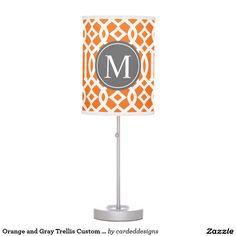 Orange and Gray Trellis Custom Monogram Desk Lamps