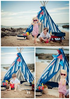 kids having fun at the beach with a teepee