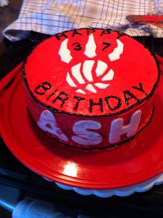 I made this Toronto Raptors red velvet cake for my brother.