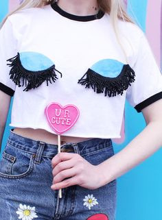 I can't see you Cropped T-Shirt with Contrast Collar Detail