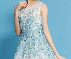 Blue Sleeveless Applique Embroidered Chiffon Dress. Fashion : Dresses : Blue Sleeveless Applique Embroidered Chiffon Dress - See more at: http://spenditonthis.com/cat-13-fashion-newest.html#sthash.zH3GREGj.dpuf