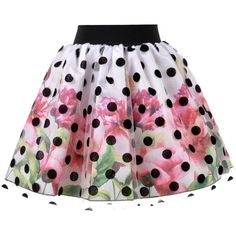Love Made Love - Floral Skirt with Polka Dot Tulle (€135) ❤ liked on Polyvore featuring skirts, polka dots, flower print skirt, floral printed skirt, polka dot skirt, layered tulle skirt and floral knee length skirt