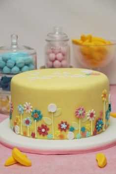 Pretty Yellow Birthday Cake with Gum Paste Flowers