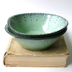 Stoneware Bowl  Set of 2  Aqua Mist Creamy White by BackBayPottery, $56.00