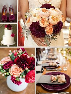 Marsala is a romantic, sensual color that is darker than most Spring colors, yet it can easily be brightened up with pinks, greys and peaches.