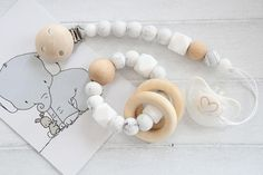 Gift set for baby shower / Pacifier clip and teething bracelet