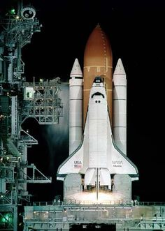 Space Shuttle Atlantis on Launch Pad at the Kennedy Space Center, Cape Canaveral, Florida Cosmos, Air Space, Deep Space, Nasa Space Program, Kennedy Space Center, Space Shuttle, Space Telescope, Earth From Space, To Infinity And Beyond