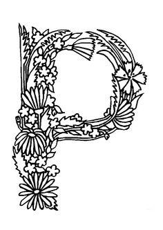 Coloriage alphabet fleurs p sur Hugolescargot.com - Hugolescargot.com