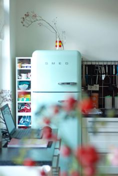 Kitchen. I would so love that Smeg fridge.
