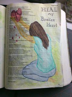 Psalm 146  water colors. Heal My Broken Heart.