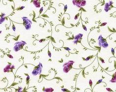 Viola Fabric Collection: Pansy Bud Vines Fabric by Chong-a Hwang for Timeless Treasures - Listed by the half yard