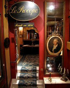 The famous Café Procope, rue de l'Ancienne Comédie (Paris 6). It is believed to be the oldest restaurant of Paris in continuous operation since 1694. More info: www.procope.com/