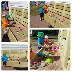 Outdoor sand box we made for my home daycare! Stand at it style! New for a lid that closes to keep critters out! find it at Nik's Summit Playschool! Outdoor Play Spaces, Kids Outdoor Play, Outdoor Fun, Outdoor Games, Home Daycare, Preschool At Home, Daycare Rooms, Preschool Colors, Daycare Ideas