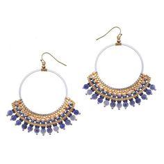 Women's Nakamol Design Crochet Bead Hoop Earrings (73 BAM) ❤ liked on Polyvore featuring jewelry, earrings, blue, beaded earrings, blue hoop earrings, boho jewellery, blue jewellery and bohemian earrings
