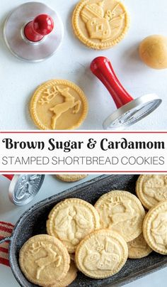 Brown Sugar Cardamom Stamped Shortbread Cookies A wonderful Christmas cookie recipe using Nordic Wares new Holiday Cookie Stamps Festive and easy to prepare with the who. Stamp Cookies Recipe, Sugar Cookies Recipe, No Bake Cookies, Cookies Et Biscuits, Cardamom Cookies Recipe, Molded Cookie Recipe, Fancy Cookies, Cookie Desserts, Decorated Cookies
