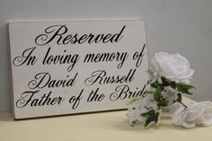 Items similar to Wedding Sign In Loving Memory of Personalized Remembrance loved ones passed Reserved Rustic country Memorial table pictures on Etsy Rustic Wedding Signs, Wedding Table, Fall Wedding, Our Wedding, Dream Wedding, Trendy Wedding, Wedding Memorial Table, Wedding Stuff, Bridal Table
