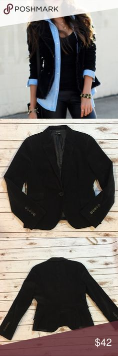"Zara Basic Black Corduroy Blazer Zara Basic Black Corduroy Blazer. EUC. Measures from pit to pit 19""/ length 24"". Please refer to pic 4 for material content Zara Jackets & Coats Blazers"