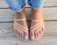 Sandalias de cuero de los hombres resbalón en sandalias
