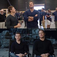 Tom and Chris Pratt at the ten year anniversary photoshoot for Marvel Studios!