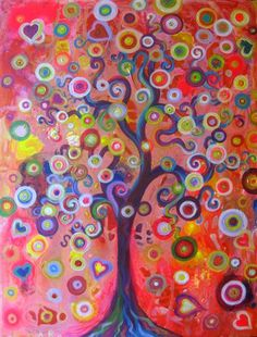 Tree of Love by Natasha Tayles | acrylic painting | Ugallery Online Art Gallery. I painted something very similar to this... Love the colors!