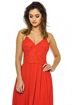 Red V-Neck Spaghetti Strap Crochet Top Pleated Maxi Dress