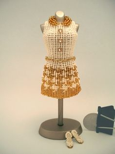 OOAK Miniature Bead Dress Elegant Gold Houndstooth by pinkythepink WOW!