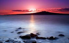Terra/Natureza Sunset  Sunrise Water Rock Mountain Cloud Landscape Nature Papel de Parede