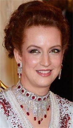 Princess Lalla Salma of Morocco wearing her ruby and Diamond Demi Parure.