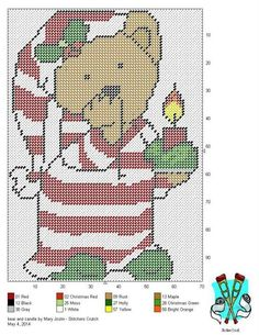 Christmas Teddy in Nightgown and hat by Mary Joslin of Stitchers Crutch Plastic Canvas Ornaments, Plastic Canvas Tissue Boxes, Plastic Canvas Crafts, Plastic Canvas Patterns, Xmas Ornaments, Cross Stitching, Cross Stitch Embroidery, Cross Stitch Patterns, Afghan Patterns