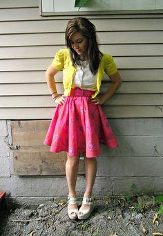 Circle skirt inspiration (Floral Circle Skirt by lladybird, via Flickr)