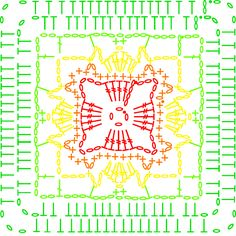 Welcome to part 2 of our summer CAL by Amanda Perkins! Crochet Motif Patterns, Crochet Blocks, Crochet Diagram, Square Patterns, Crochet Chart, Crochet Squares, Crochet Stitches, Motifs Granny Square, Granny Square Projects