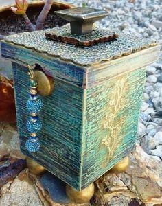Box With Polymer Clay Top  Buddha Prayer Garden by SJOx2 on Etsy, $37.50