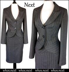 124 Next 8 10  40's 50's Vintage pencil skirt suit ladies grey pinstripe womans #Next #SkirtSuit #Business