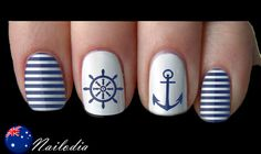 Anchor Sailor Navy Nail Art Sticker Water Transfer Decal 05 Source by Nautical Nail Designs, Nautical Nail Art, Nail Art Designs, Anchor Nail Designs, Nails Design, Design Art, Navy Nail Art, Navy Nails, White Nails