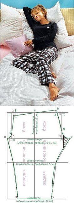 Универсальная выкройка штанов для сна.