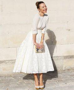 full skirt and white top