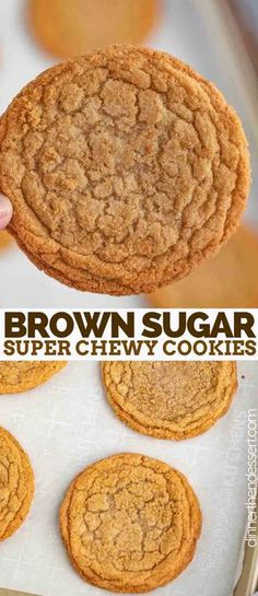 Brown Sugar Cookies made with dark brown sugar and butter are sweet, soft, chewy, and the PERFECT spin on the traditional cookie ready in under 30 minutes! Cookies Brown Sugar Cookies - Dinner, then Dessert Brown Sugar Cookie Recipe, Brown Sugar Cookies, Chocolate Cookie Recipes, Easy Cookie Recipes, Sugar Cookies Recipe, Yummy Cookies, Sweet Recipes, Cream Cookies, Chocolate Chips