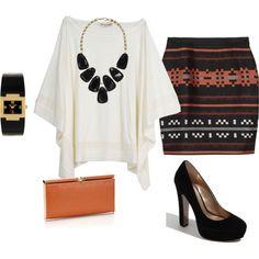 My Version: Crochet Teal Flowy Blouse, Black Pencil Skirt, Black Wedges.
